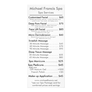 Tarjeta del menú del precio folleto publicitario 10 x 22,8 cm