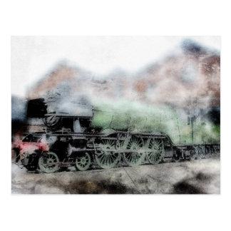 Tarjeta del motor del tren del vapor del vintage