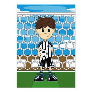 Tarjeta del muchacho del fútbol comunicado