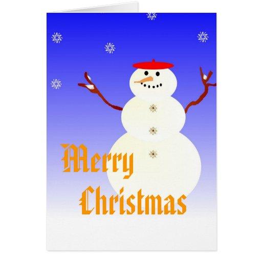 Tarjeta del muñeco de nieve de las Felices Navidad