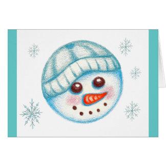 Tarjeta del muñeco de nieve del día de fiesta del