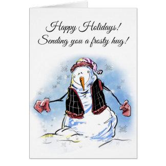 Tarjeta del muñeco de nieve del saludo del día de