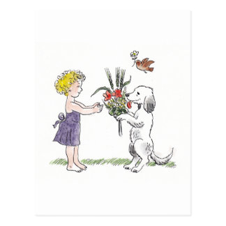 Tarjeta del niño y del mascota postal