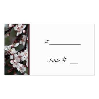 tarjeta del número de la tabla con la dirección de tarjeta de visita