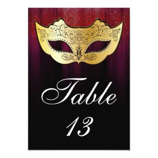 Tarjeta del número de la tabla de la mascarada invitación 12,7 x 17,8 cm