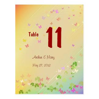 Tarjeta del número de la tabla de la primavera postal