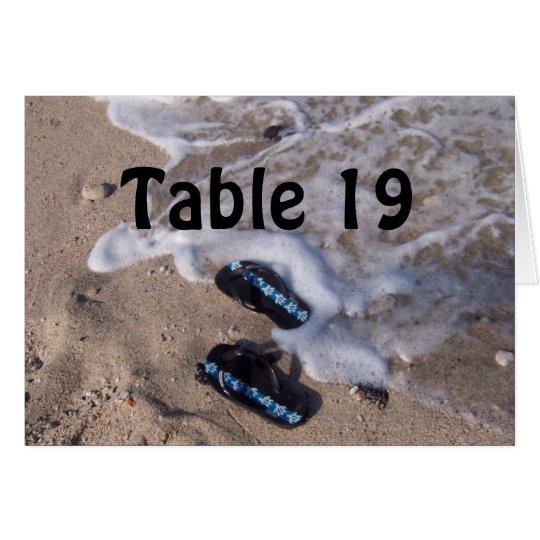 Tarjeta del número de la tabla de las sandalias