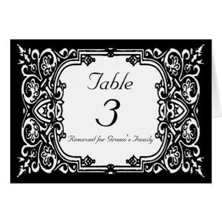 Tarjeta del número de la tabla del boda