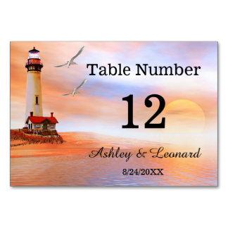 Tarjeta del número de la tabla del boda de playa