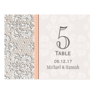 Tarjeta del número de la tabla del boda del cordón