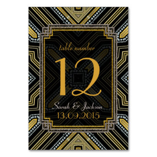 Tarjeta del número de la tabla del boda del negro