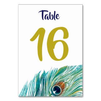 Tarjeta del número de la tabla del pavo real