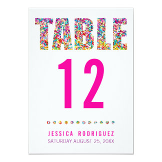 TARJETA del NÚMERO de la TABLA del tema del Invitación 12,7 X 17,8 Cm