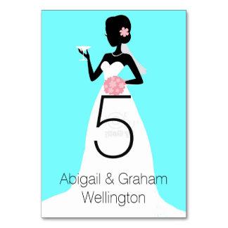 Tarjeta del número de la tabla del vestido de boda