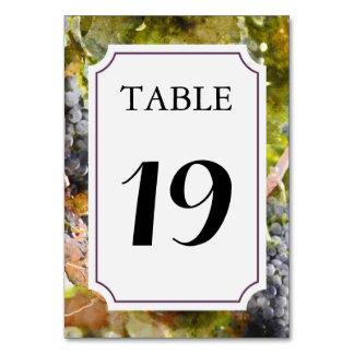 Tarjeta del número de la tabla del viñedo o del tarjeta