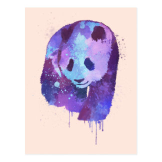 Tarjeta del oso de panda de la acuarela postal