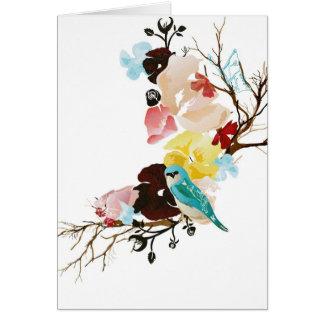 Tarjeta del pájaro y de las flores