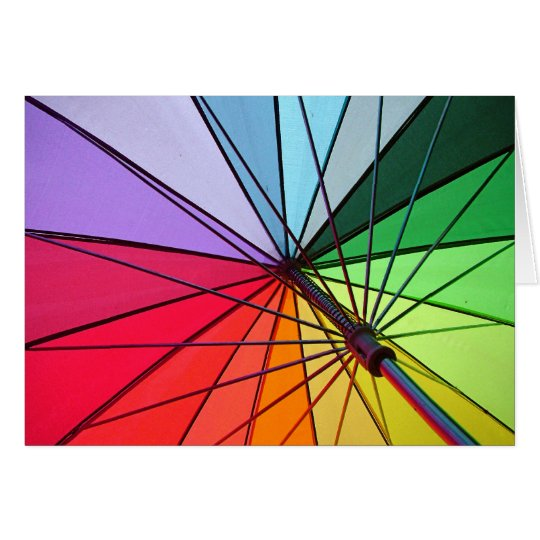 tarjeta del paraguas del arco iris