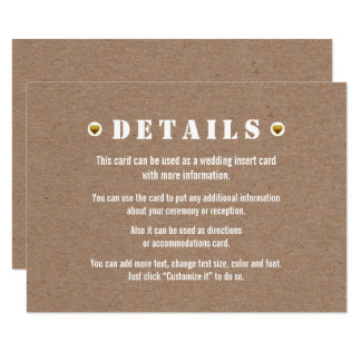 Tarjeta del parte movible de los detalles del boda invitación 8,9 x 12,7 cm