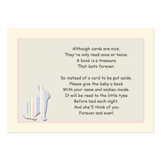 Tarjeta del parte movible del rosa del poema del tarjetas de visita grandes