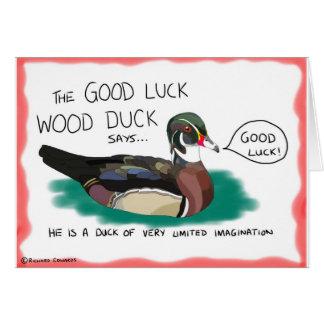 Tarjeta del pato de madera de la buena suerte