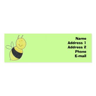 Tarjeta del perfil de la abeja ocupada tarjetas de visita