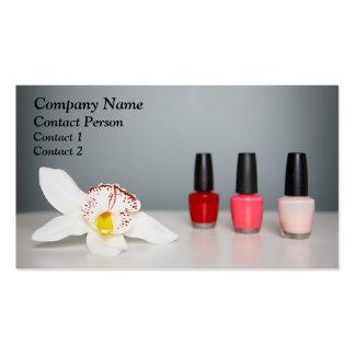 Tarjeta del perfil del esmalte de uñas y de la orq tarjetas de negocios