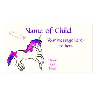 Tarjeta del perfil del unicornio de los niños tarjetas de visita