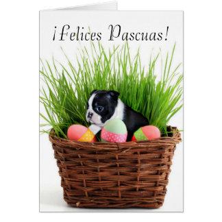 Tarjeta del perro de Felices Pascuas Pascua Boston