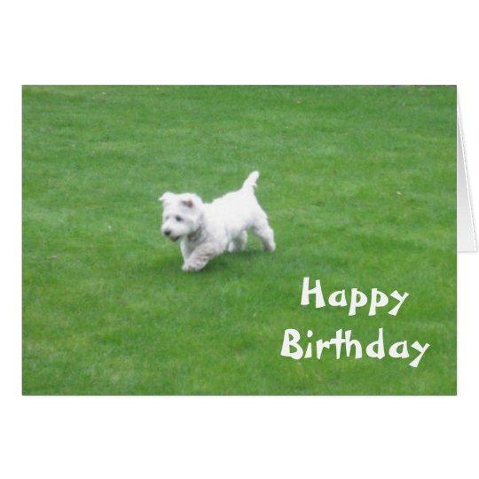 tarjeta del perro del feliz cumpleaños