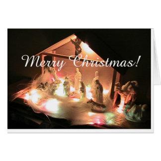 Tarjeta del pesebre de las Felices Navidad