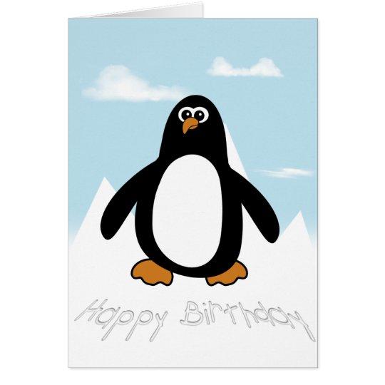 Tarjeta del pingüino del feliz cumpleaños