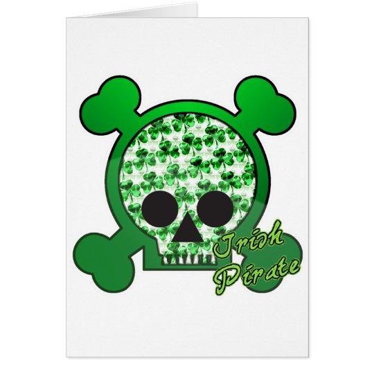 Tarjeta del pirata cráneo irlandés skully
