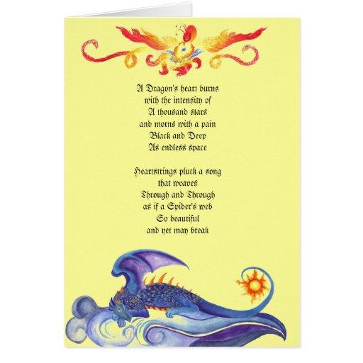 Tarjeta del poema del corazón del dragón