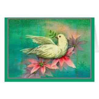 Tarjeta del Poinsettia del rosa de la paloma del