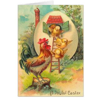 Tarjeta del polluelo de Pascua del vintage