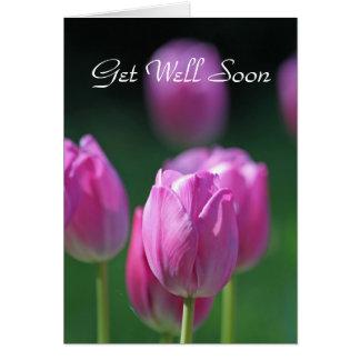 """Tarjeta del pozo de los tulipanes """"consiga pronto"""""""