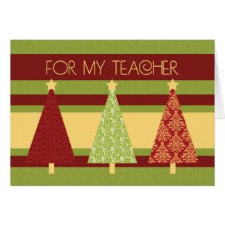 Tarjeta del profesor de los árboles de navidad