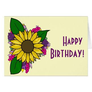 Tarjeta del ramo del girasol - feliz cumpleaños
