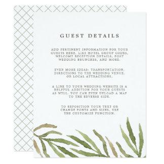 Tarjeta del recinto de los detalles de la huésped invitación 10,8 x 13,9 cm