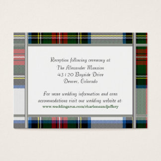 Tarjeta del recinto del boda de la tela escocesa