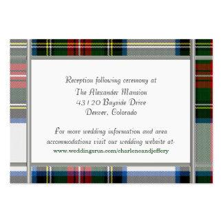Tarjeta del recinto del boda de la tela escocesa tarjetas de visita grandes