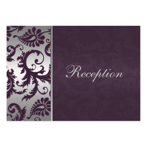 Tarjeta del recinto del damasco del gris púrpura y plantillas de tarjetas de visita