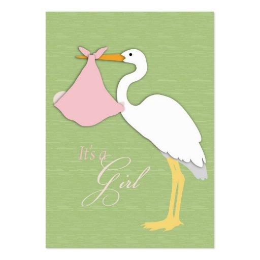 Tarjeta del recordatorio del chica de la cigüeña tarjetas de ...