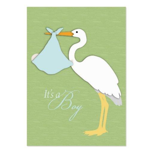 Tarjeta del recordatorio del muchacho de la cigüeñ tarjeta de visita