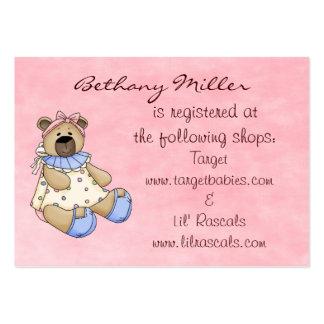 Tarjeta del registro de regalos del oso del bebé tarjetas de visita grandes