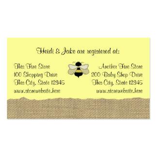 Tarjeta del registro del bebé de la abeja y de la plantillas de tarjeta de negocio