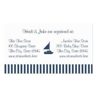 Tarjeta del registro del bebé de las rayas del bar tarjetas de visita