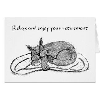 Tarjeta del retiro con el gato el dormir