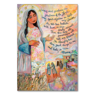 Tarjeta del rezo de Magnificat, cántico de Maria